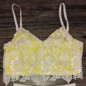 Lace yellow and white crop top